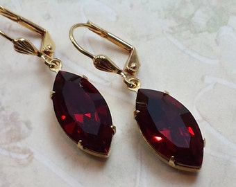 Garnet Crystal Earrings, Drop Earrings, Swarovski Crystal Earrings, Crystal Rhinestone Earrings, Garnet Earrings, Swarovski Drop Earrings