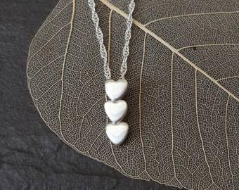 Fine silver 3 heart pendant