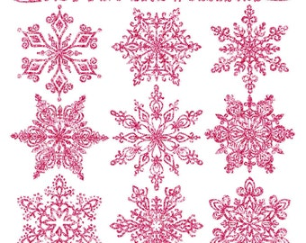 Premium Glitter Snowflakes in Hot Pink - Pink Glitter Snowflake Clipart, Snowflake Vectors, Clipart Glitter Snowflakes, Christmas Clipart