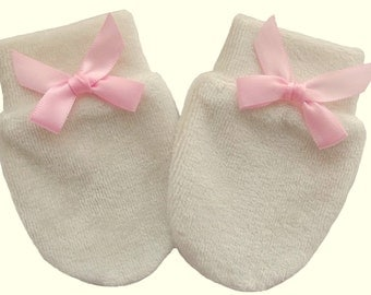 0-3 Months Bamboo Organic Cotton Velour Newborn Baby Anti Scratch Mittens Gloves Color Beige