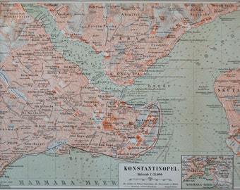 Constantinople map at the end of 19th . . Old book plate, 1890. Antique illustration. 125 years lithograph. 9'4 x 15'4 inches.