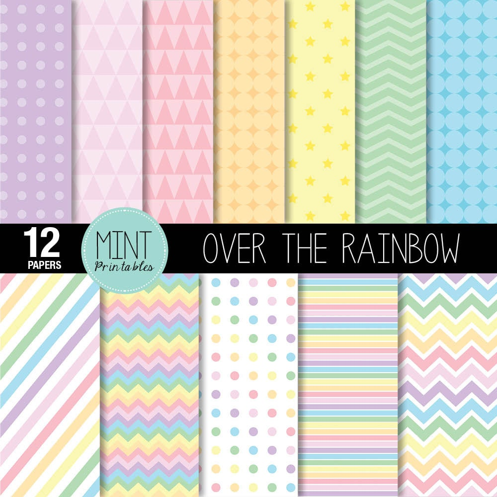 Rainbow Digital Paper Pastel Rainbow Coloured Colored
