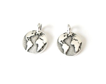 2x earth charms, TierraCast earth pendants for bracelet or necklace making, UK jewellery supplies
