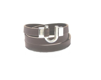 Leather Bracelet Wrap Brown Matte