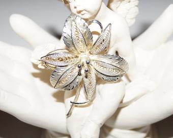 Filigree 60's Brooch Bloom Silver