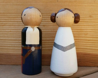 """READY TO SHIP - Space Geek Peg Doll Cake Toppers / Collectibles / Stocking Stuffers  - 3 1/2"""" Size Pegs"""