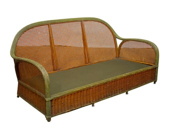 French Art Deco Wicker and Cane Settee