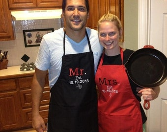 Mr. And Mrs. Custom personalized aprons