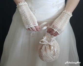 Crochet Mittens, Fingerless Gloves, Ivory, 100% Mercerized Cotton.