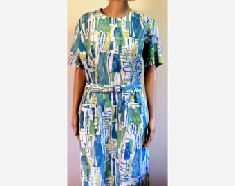 Vintage 1960's Mod Novelty Abstract  Print Sheath Dress Lightweight/Easy Care/Belt/Front Pockets by Make Mine McKettrick Approx Size Lg