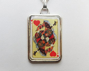 Playing card pendant necklace, Jack of Hearts, Art Nouveau design by Artus Scheiner, silver finish frame, silver plated chain, poker card