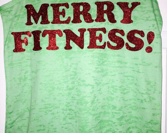 Merry Fitness Green Sparkle Burnout Tank - Workout Tank Tops - Christmas Workout Tank Top - Ladies Workout Shirts - Glitter Shirt