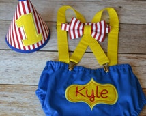 Boy Cake Smash Outfit, Circus Cake Smash, Clown Cake Smash Outfit, Boys 1st Birthday, Birthday Outfit, Boys Birthday, Circus