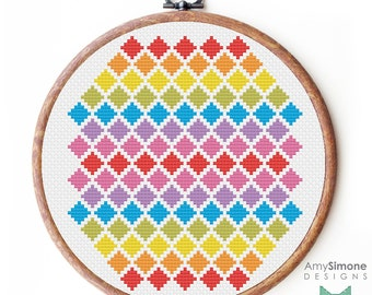 Geometric shapes Hexagon Aztec patterned Cross Stitch Pattern