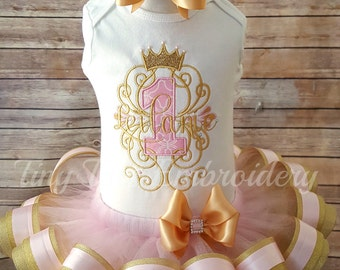 Princess Birthday Tutu Outfit ~ Includes Top, Ribbon Tutu & Hair Bow ~ Customize in any colors!!