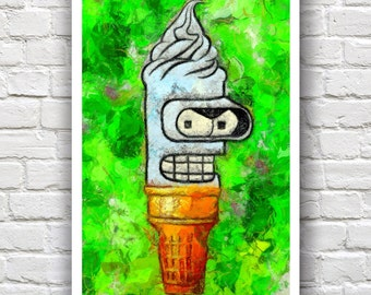 "Bender Futurama Ice Cream Print // Swirl Series // Heavy Impasto Digital Painting //  12"" x 18"""