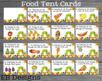 Hungry Caterpillar Food Tent Cards