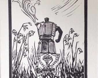 Original linocut print. 'Campstove coffee' Edition of 50.