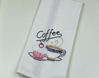 48 Hour Sale Coffee Dish Towel, Hand Embroidered Kitchen Towel, Coffee Decor