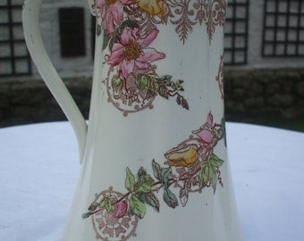 "REDUCED - From 55 to 45 Vintage Ceramic Floral Pitcher ""Guipure K C Lunéville"""