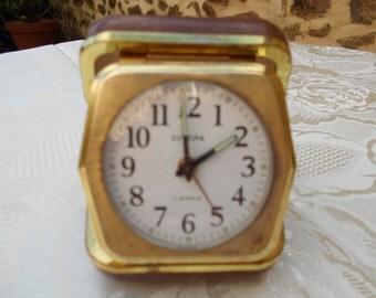 Vintage Europa 2 jewels Folding Travel Alarm Clock.