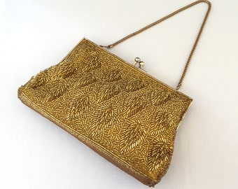 Vintage Gold Metallic Beaded Satin Clutch, Evening Bag, Wedding, Prom, Bride, Mother of the Bride