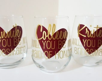 Set of 5, Will you be my Bridesmaid, Bridesmaid Proposal Wine Glass, Will you be my Maid of Honor? Bridesmaid Glasses,Bridesmaid Gift