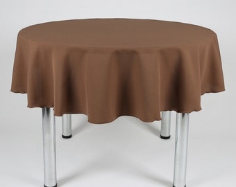 Brown Round Tablecloth - Made from polyester fabric not cotton.