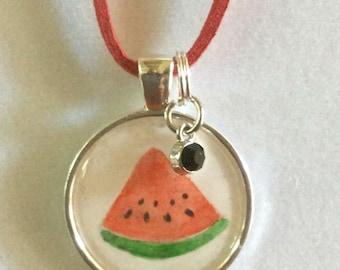 Watermelon. Watermelon Slice Necklace. Original Watercolor Necklace