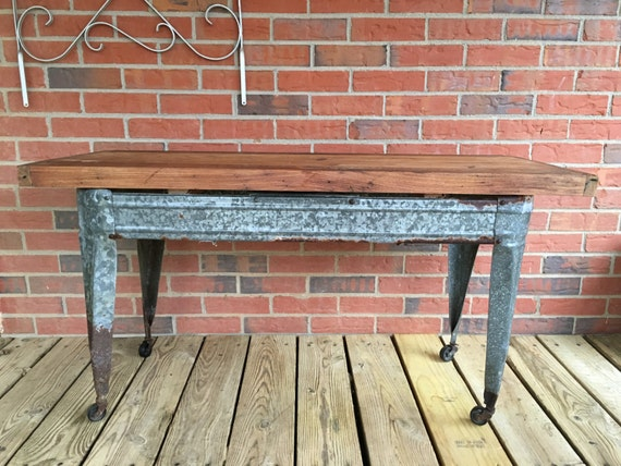 Vintage Galvanized Trough Coffee Table With Wormy Chestnut Top