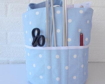 Light BLUE knitting Bag , Yarn Bag, Project organiser, Crochet, sewing, Gift for Knitter, Present for Mum, Craft Bag, Round Tote,
