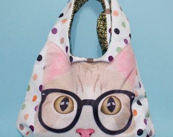 Polka Dot Cat Hobo Bag