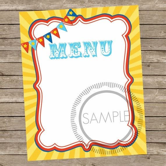 8x10 blank food menu carnival circus printable sign. Black Bedroom Furniture Sets. Home Design Ideas