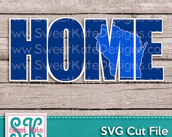 Home with Knockout Wisconsin SVG JPG png USA Scrapbook Die Cut Heat Transfer Vinyl Cricut Silhouette Instant Download Sweet Kate Designs