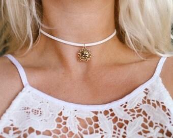 Golden Winking Sun Vegan Suede Choker Necklace