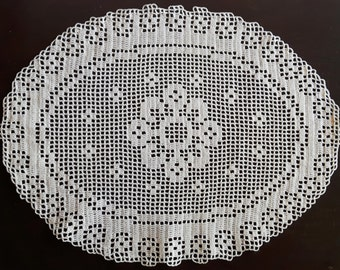 Filet cream oval handmade crochet doily