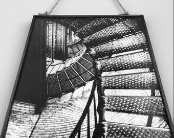 8X10 5X7 Rustic metal framed photography black and white staircase industrial home decor wall art