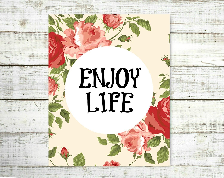 Shabby Chic Wall Decor Enjoy Life Quote by VeganArtByTafida