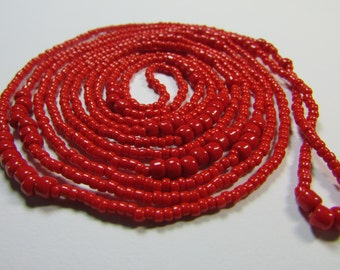 "Long Beaded ""True Red"" Classic Necklace"
