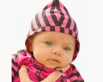 baby girl helmet hat, pink and black stripes, NB to 24 month,  European cotton jersey knit, soft, comfortable fit