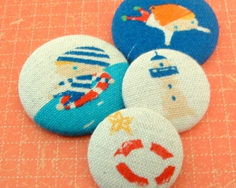 Summer inspired fabric covered Sewing Button Set