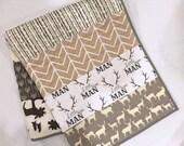 Baby/toddler deer quilt in neutral colors, deer, buck, moose, arrows, woodland, hello bear, white-cream-tan-gray-brown
