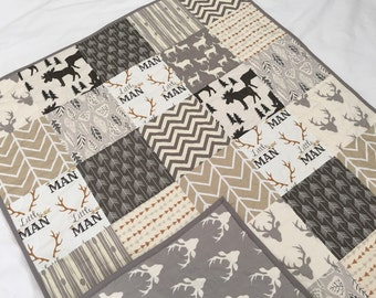 Baby/toddler quilt in neutral colors, deer, buck, moose, arrows, woodland, southwest, white-cream-tan-gray-brown