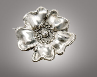 Unger Brothers sterling Dogwood brooch