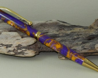 Purple & Gold Twist Pen