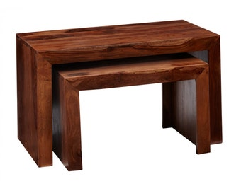Bonsoni Chennai Nest Of 2 Large Tables Made From 100% Solid Hardwood