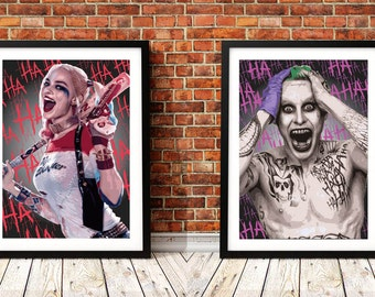 The Joker and Harley Quinn set of 2 Illustrated Prints
