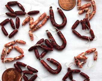 12th scale venison and pork sausage string, Medieval, Tudor dollshouse, dollhouse miniature food, rustic market scene