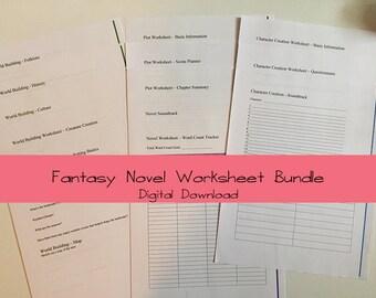 Fantasy Novel Worksheet Pack Digital Download