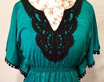 Vintage teal and black lace crochet dress